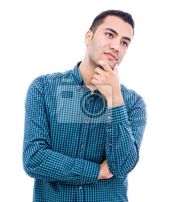 Красивый молодой вдумчивый предприниматель, изолированных на белом backgrou