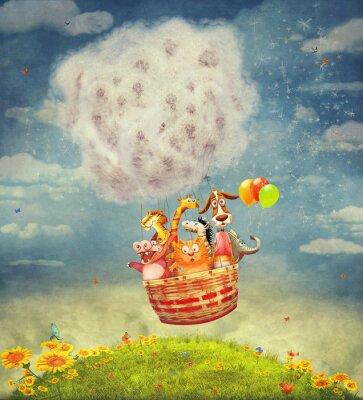 Картина Счастливые животные в воздушном шаре в небе - иллюстрации искусство