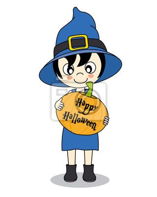 Happy Halloween. Маленькая девочка, одетые как ведьма с тыквой