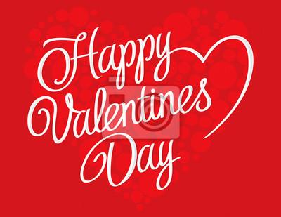 Днем Святого Валентина надпись на красном фоне