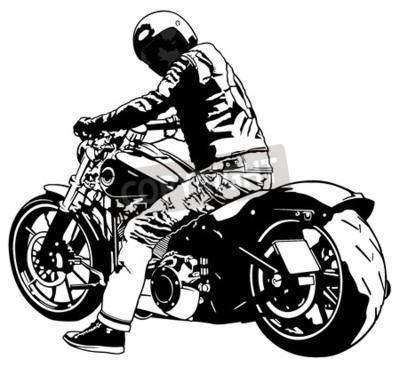 Картина Харли Дэвидсон и Райдер - черно-белая иллюстрация, вектор