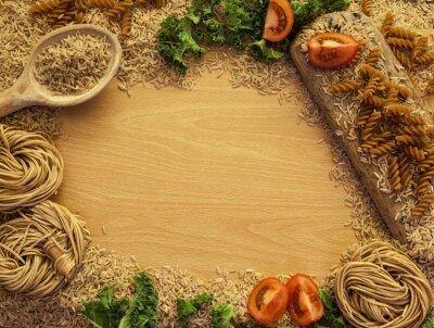 Картина Здоровое питание фон, рис, макароны, салат и овощи.