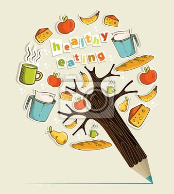 Концепция здорового питания карандаш дерево