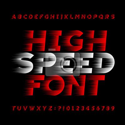 Высокоскоростной алфавит векторного алфавита. Буквы типа ветра и цифры на черном фоне. Фондовый векторный шрифт для ваших заголовков или любой дизайн типографии.