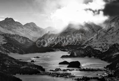 Картина Высокий вид на долину с селами Engadine Sils Maria ненависти, где он жил философ Ницше