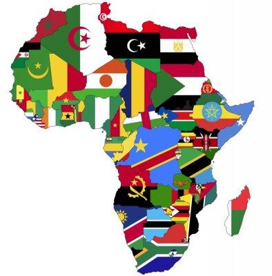 Картина Высоко Подробная Африка карта с флагами стран.