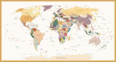 Картина Очень подробная политическая карта мира Урожай Цвета