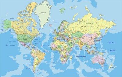 Картина Очень подробный Политическая карта мира с маркировкой.