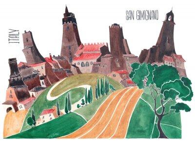 Картина Холмы Тосканы. Стилизованная природа и архитектура Италии. Иллюстрация акварель.