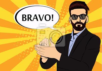 Hipster борода бизнесмен аплодисменты браво концепция успеха ретро-стиле поп-арт. Бизнесмен в очках в стиле комиксов. Успех концепции векторные иллюстрации.