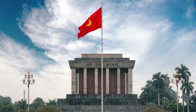 Картина Мавзолей Хо Ши Мина в Ханое с красным коммунистическим флагом