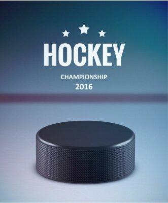 Картина Хоккейная шайба, изолированных на льду с размытием