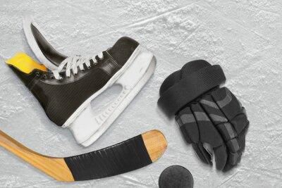Картина Хоккейные коньки, палки, перчатки и шайба