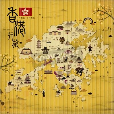 Картина Гонконгская карта путешествия с достопримечательностями в стиле ретро - верхний левый титул - Гонконгское путешествие по китайскому слову
