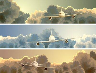 Картина Горизонтальный баннер самолета среди облаков.