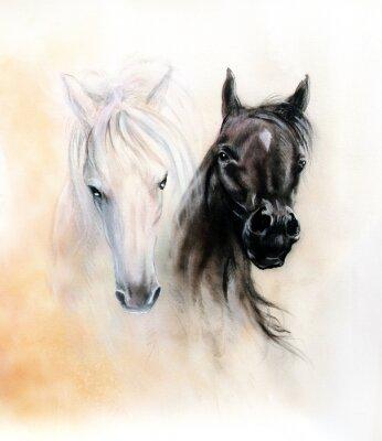 Картина Верховая головы, две черные и белые лошади духи, красивая деталь