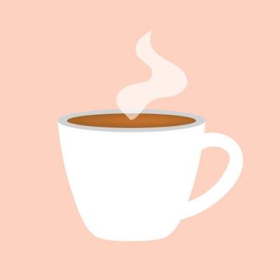 Картина чашка горячего кофе значок векторные иллюстрации