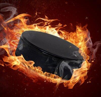 Картина Горячая хоккейная шайба в пожары пламени