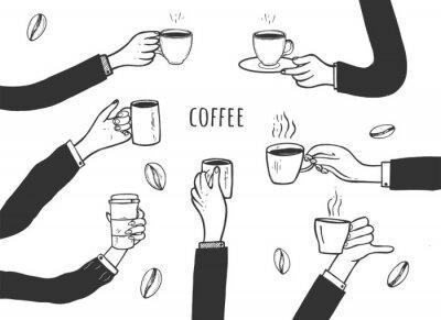 Картина Human hands with cups of coffee set