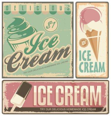 Картина Мороженое старинные металлические знаки, установленные