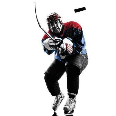 Картина Ice hockey man player silhouette