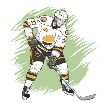 Картина хоккеист белый