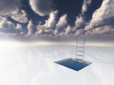 Картина Лед, как поверхности с бассейном воды и лестницы