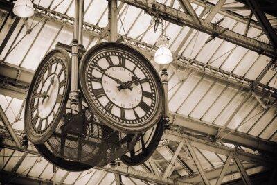 Картина знаковых старые часы вокзала Ватерлоо, Лондон