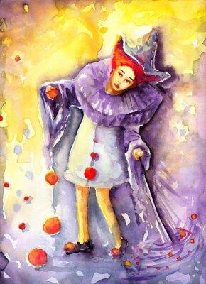 Картина ilustracja przedstawiająca klauna kręcącego  piłeczkami