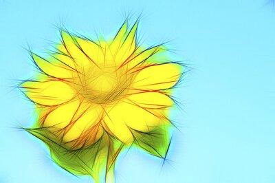 Картина Illustration gelbe Sonnenblume auf Blau