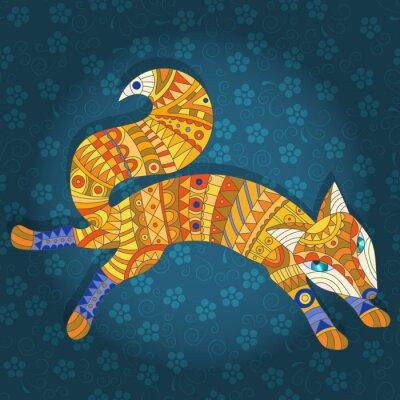 Картина Иллюстрация в стиле витражного стекла абстрактной кошки и рыбы