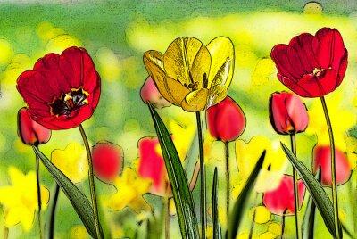 Картина Иллюстрация кровати тюльпанов