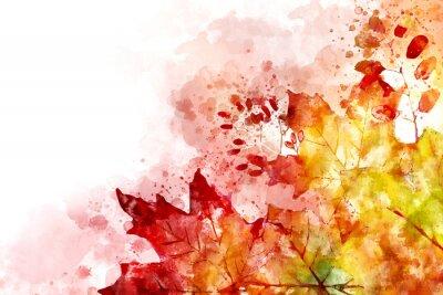 Картина Иллюстрация изображения падения. Осенний фон с желтыми и красными кленовыми листьями. Цифровая акварельная живопись.
