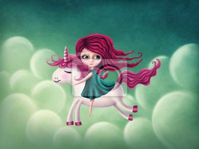 Иллюстрация девушки с единорогом