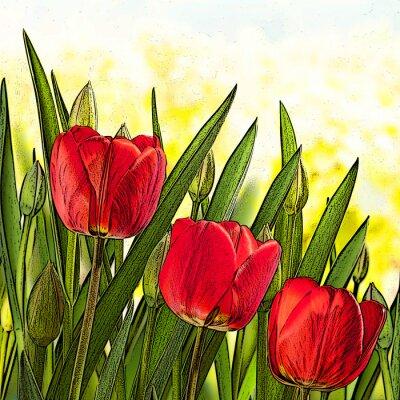 Картина Иллюстрация красных тюльпанов
