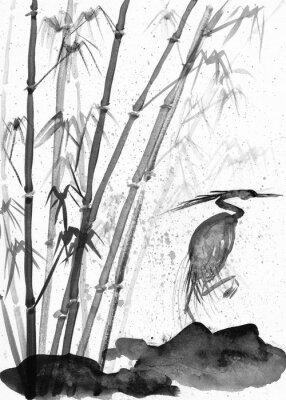 Картина Иллюстрация акварельной цапли и бамбука