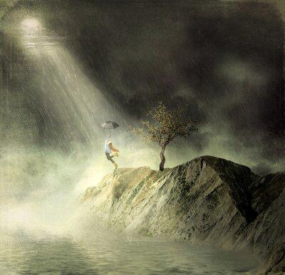Картина Иллюстрация показывает девушка на горы of.A девушка с зонтиком танцы под дождем
