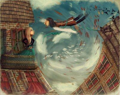 Картина На рисунке изображен человек в sky.He вырастает в bird.A девушка стоит на балконе и смотрит в небо