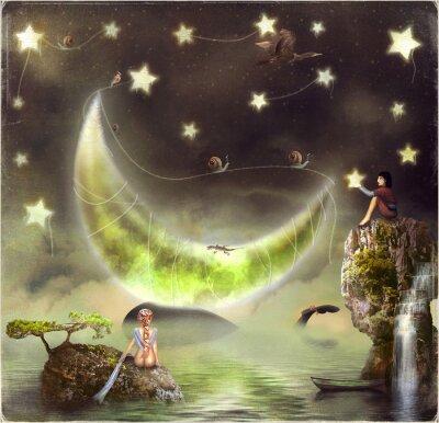 Картина Иллюстрация показывает остров сказочный в небе
