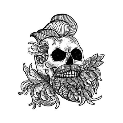 illustration vector of skull artwork,line art hand drawn, can be use tattoo, t shirt design, poster, background, wallpaper,decoration.