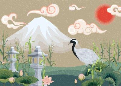 Картина иллюстрация с горы, журавль, лотосы и фонари