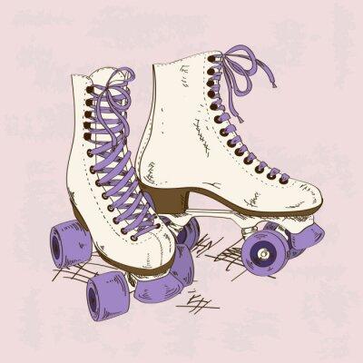 Картина Иллюстрация с ретро роликовых коньках