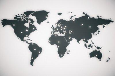 Картина Иллюстрация карта мира с капителями, 3D визуализации