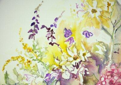 Картина Впечатление смеси диких цветов. Техника прикладывая вблизи краев дает эффект мягкой фокусировки благодаря измененному шероховатости поверхности бумаги.