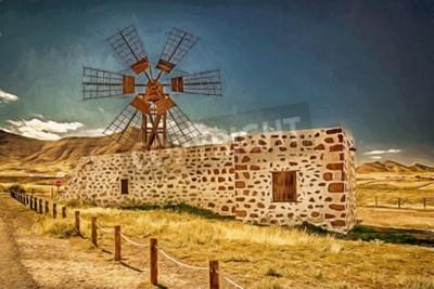 Картина Впечатление от ветряной мельницы в Фуэртевентура, Канарские острова, Испания
