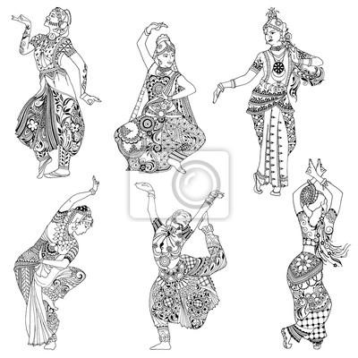 Индийская танцовщица в mihendi стиле на белом фоне.