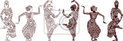 Индийские танцоры набор рисованной стиле мехенди