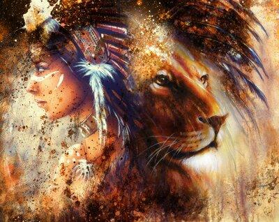 Картина Индийская женщина, носить головной убор из перьев со львом и абстрактный коллаж
