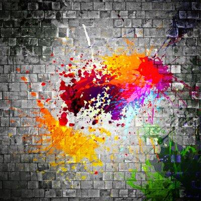 Картина чернила брызги на каменной стене