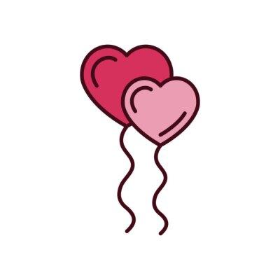 Isolated heart balloons icon fill vector design